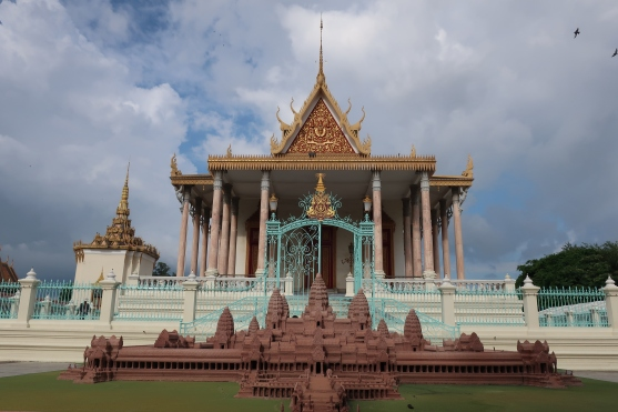 A replica of Angkor Wat outside the Silver Pagoda.