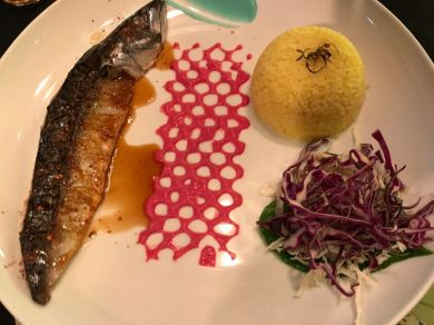 Grilled mackerel with tumeric rice and beetroot dressing