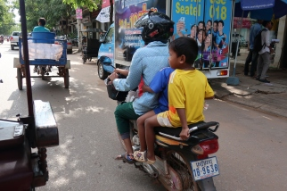 The main mode of transport (usually without helmets)