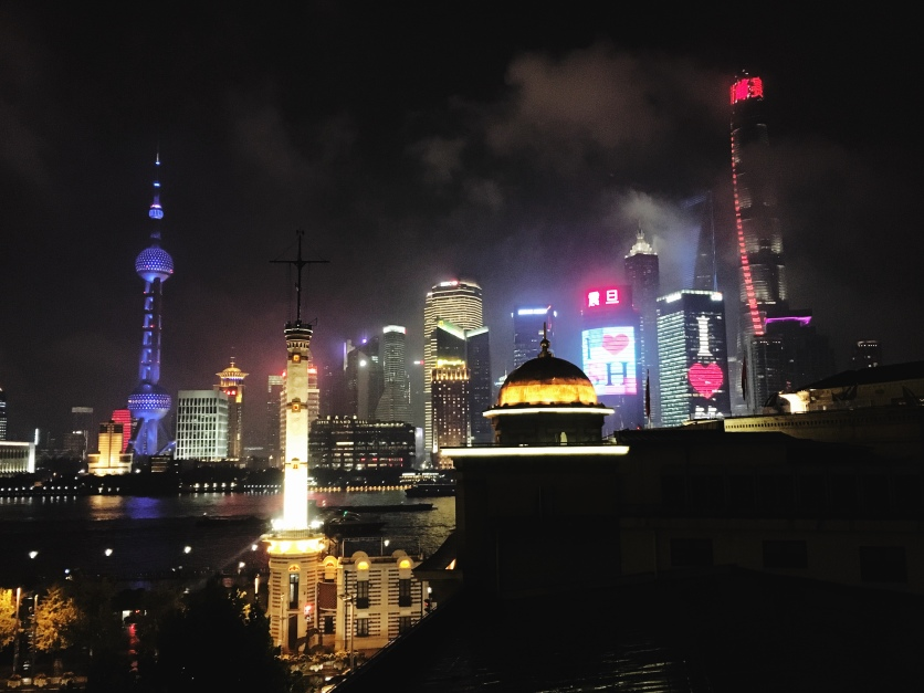 View of the Lujiazui skyline from Goodfellas terrace on the Bund