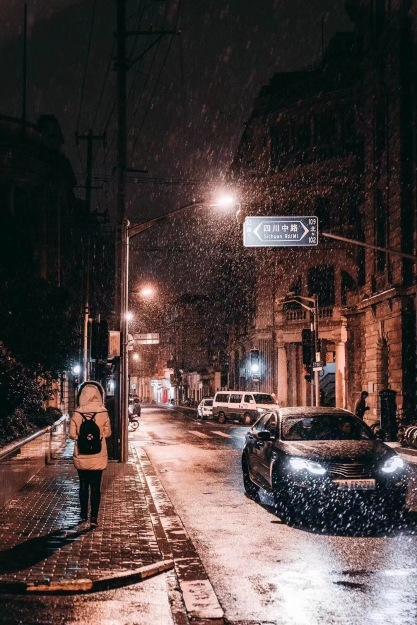 Snowy Shanghai street